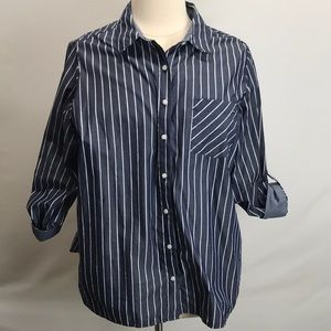 Tommy Hilfiger plus striped blue button up shirt